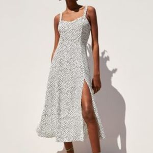 Zara Polka Dot Midi Dress White 3067/100